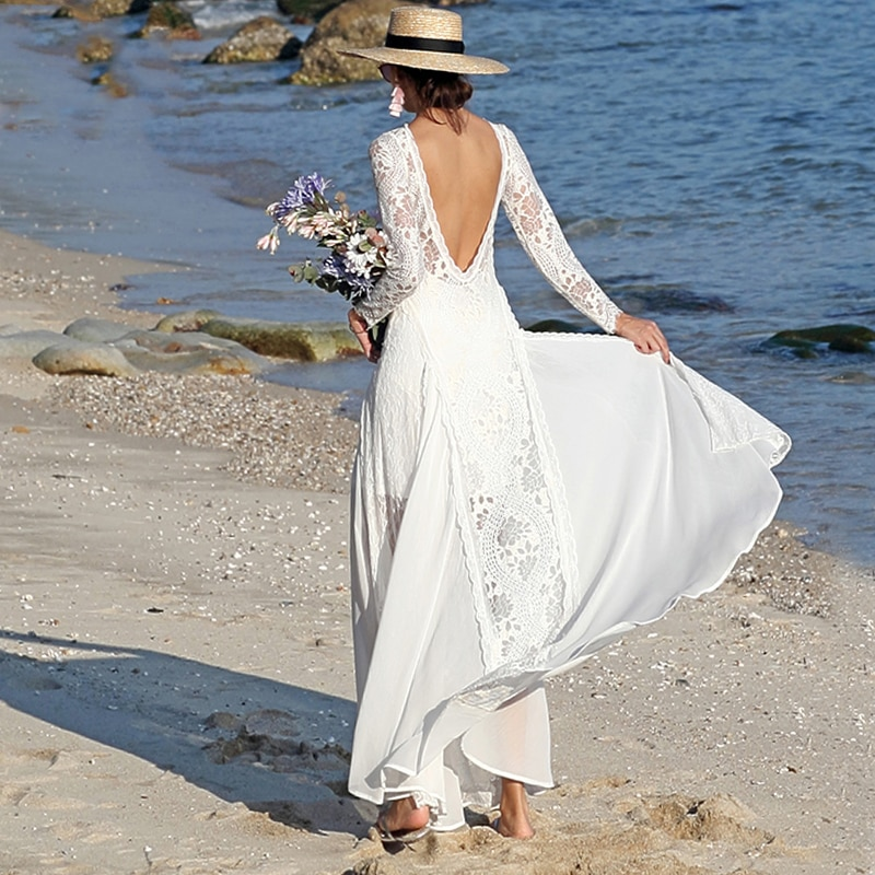 Lace Boho Boat Neck Wedding Dresses A Line Long Sleeve Custom Made Plus Size Chiffon Backless Hippie Elopement Beach Bridal Gown