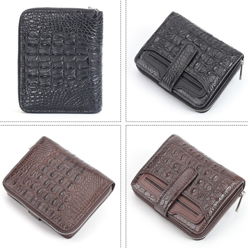 Men's Wallet Short Crocodile Leather Zipper Business Casual Card Bag Leather Multifunctional Wallet Handbag