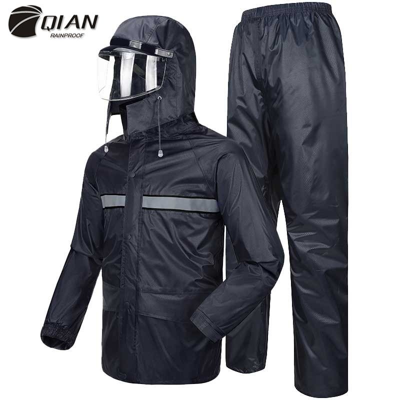 QIAN Cycling Raincoats Motorcycle Women/Men Suit Rain Coat Pants Police Poncho Waterproof Rain Jacket Men Protective Rain Gear