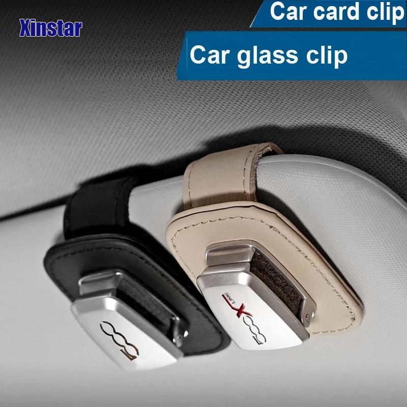 AliExpress - Genuine Leather Car Sunshade Glass Clip Holder Sticker For Fiat 500 500Xline 500l 500x 550c