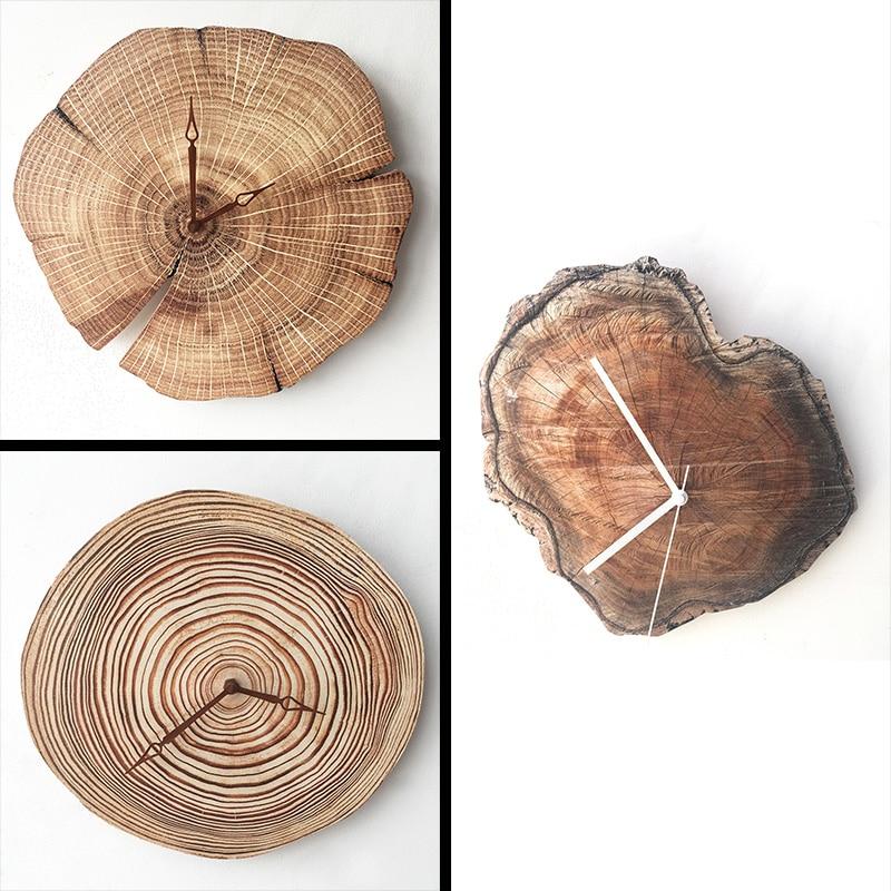 Reloj de pared de grano de madera Simple de estilo nórdico creativo reloj de arte silencioso para las habitaciones de los niños sala de estar decoración del hogar
