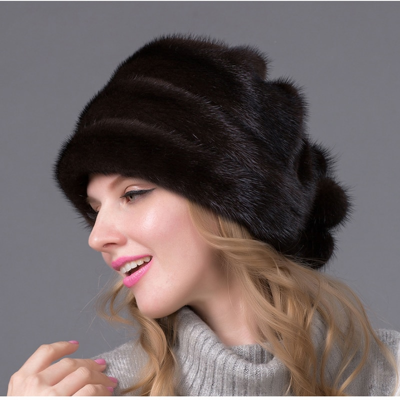 Real mink fur caps autumn and winter natural full fur hat quality multi-color women's luxury fur hat DHY-47