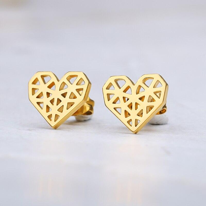 Minimalisme Leuke Rosa Flor de Oro Corazón de Oorbellen Voor Vrouwen Kinderen Zus Bruidsmeisje regalo Rvs Oorbellen modo-sieraden