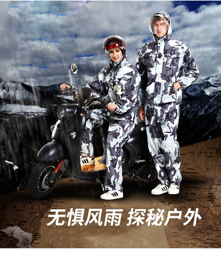 Double layer thickened split motorcycle riding raincoat rain pants fashion camouflage suit raincoat adult