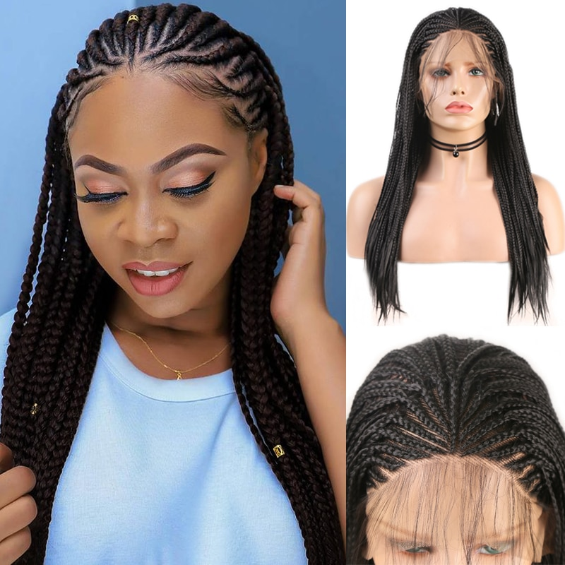 Charisma Long Box Braided Wig with Baby Hair Synthetic Lace Front Wig for Black Women High Temperature Fiber Hair Braided Wigs