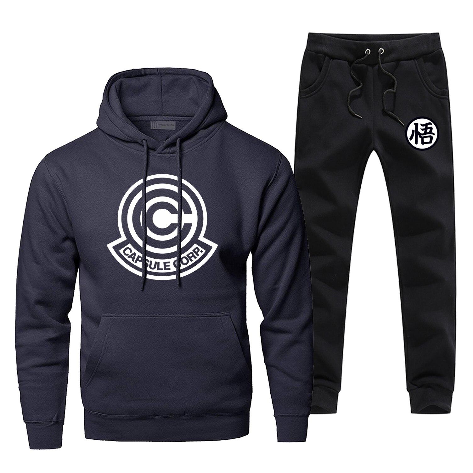 Anime japonês dragon ball z capsule corp hoodies calças define masculino moda moletom de lã hip hop streetwear casual esportiva