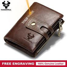 Gravure gratuite cadeau en cuir véritable hommes portefeuille porte-monnaie petit Mini port-carte portefeuille Portomonee mâle nom poche offre spéciale