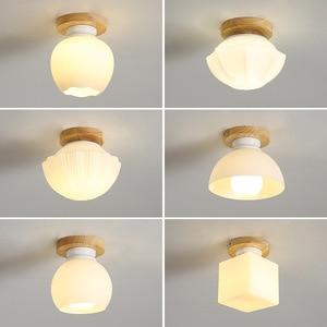 Nordic Led Solid Wood Aisle Ceiling Lamp Modern Minimalist Corridor balcony Lamp Warm Cloakroom Hallway Lighting Decoration