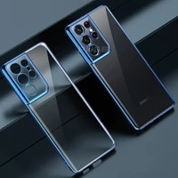 luxury plating transparent silicone case for samsung galaxy s21 s20 plus ultra s21ultra s21plus s20ultra s20plus clear tpu cover