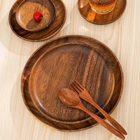 10 5 24 cm durable acacia wood dinner plates unbreakable round wood plates fruits dishes snacks dessert serving tray tableware