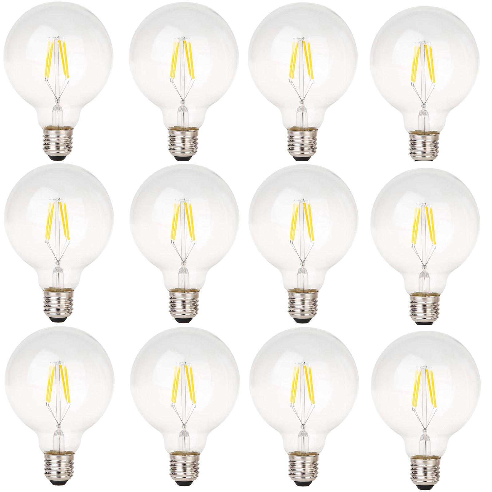 12x Vintage bombillas LED de filamento G95 4W E27 Retro Edison tornillo estilo LED Bombilla de vidrio transparente cubierta cálida lámpara blanca 2700K 220V