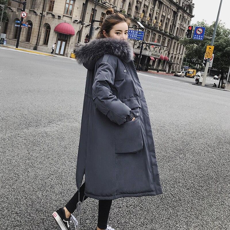 2020 Winter Jacket Women Overknee Plus Size Solid Artificial Fur Collar Hat Manteau Femme Hiver Long Coat Ukraine Warm Parka