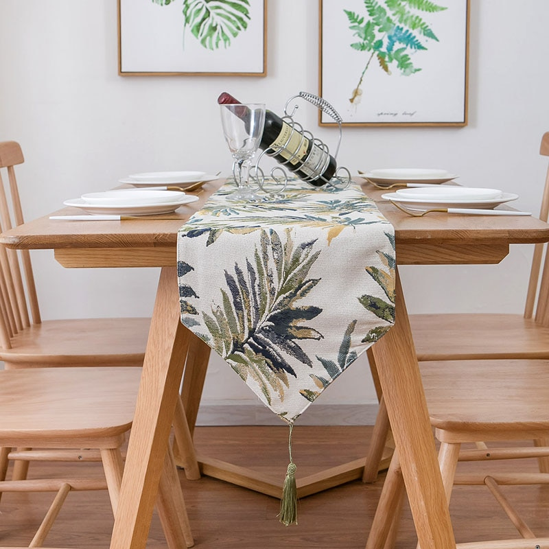 1 قطعة الكلاسيكية الملونة يترك نمط الجدول عداء خمر الزفاف ديكور الطعام الجدول اكسسوارات الديكور