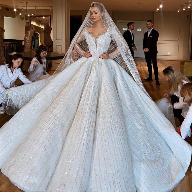 Luxo beading dubai vestido de casamento ilusão mangas compridas vestido de baile vestido de noiva colher vestidos de casamento artesanais robe de mariee