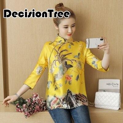 2020 chinês vestido chinês do vintage qipao topos de seda chinês tradicional cheongsam camisa impressão feminina qipao tang terno blusa