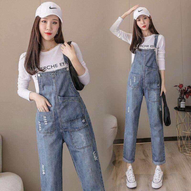Женский джинсовый комбинезон, голубой комбинезон на бретельках с эффектом потертости, свободные джинсовые комбинезоны, женский джинсовый ...