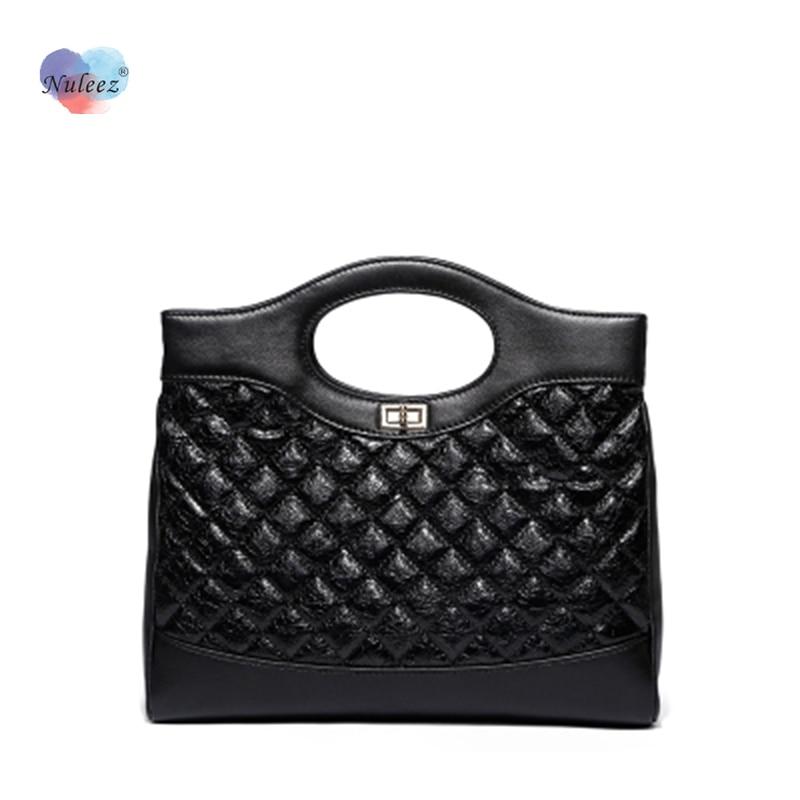 Nuleez-حقيبة يد نسائية كلاسيكية ، حقيبة يد كبيرة ، مربعات ، سوداء ، محفظة قابلة للطي ، عصرية ، نجمة مشهورة ، محمولة
