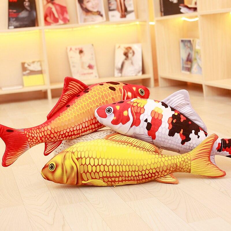 Lifelike Koi Fish Stuffed Soft Fish Soft Koi Pillow Goldfish Cushion Cat Plush Doll Kid Toy Xmas Gift