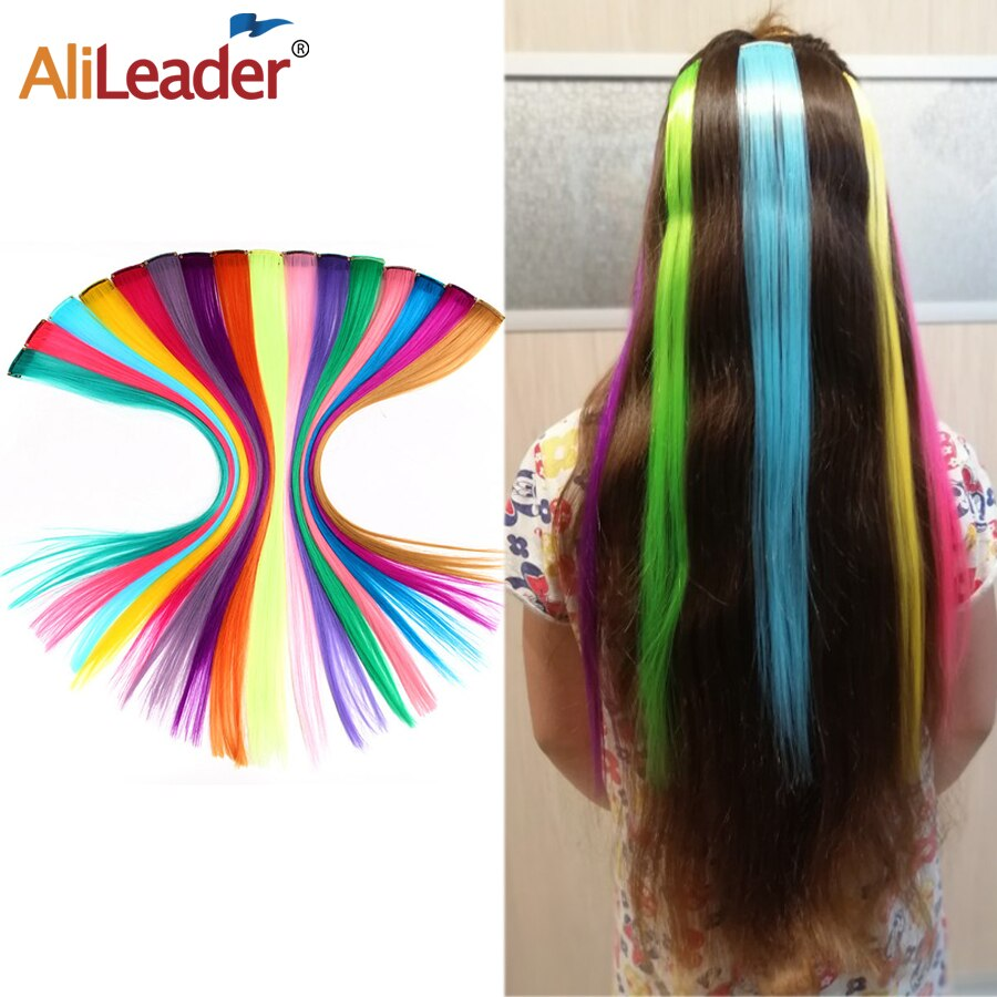 Alileader Straight Hair Extension Ombre One Clip In Hair Extensions Synthetic Hair Extensions Clip In One Piece Soft Natural clip in soft wave hair extension 1pc