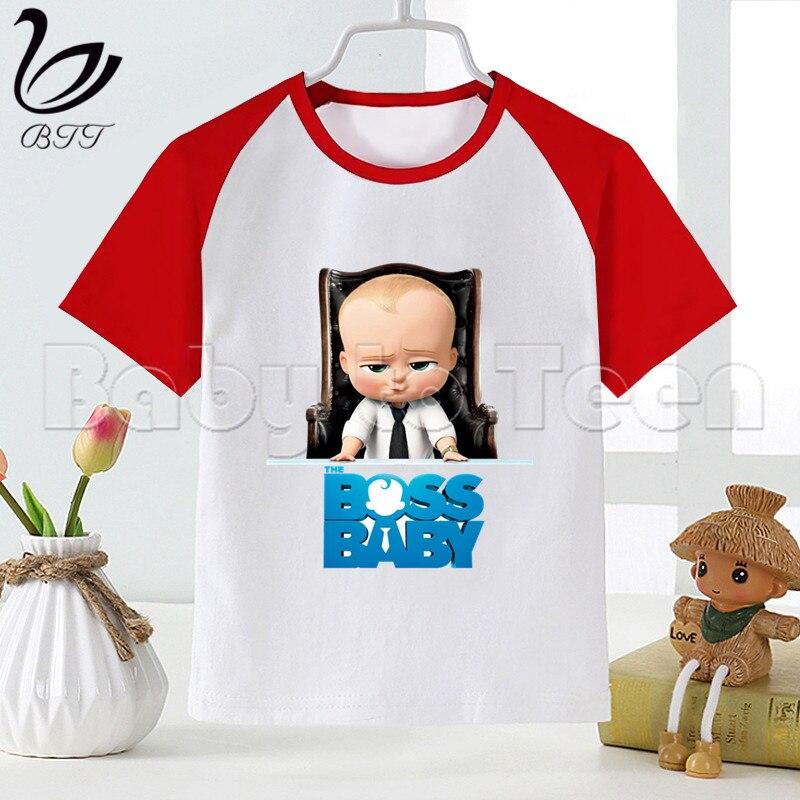 Забавная футболка для маленьких девочек с героями мультфильмов «Boss Baby» Летние повседневные короткие футболки для мальчиков детские модные...