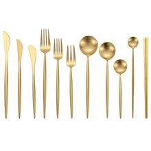 Çelik çatal bıçak kaşık seti seyahat sofra takımı altın kaşık çatal bıçak seti yemek Forks mutfak bıçakları kahve çay kaşık Dropship
