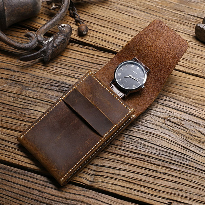 Soft Cow Leather Watch Box Luxury Pouch Portable Organizer Bag Travel Watch Bag Protective Cover 1-Slot