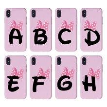 Custom Cute Pink Bowknot Cartoon Initial Alphabet Soft Pink TPU Phone Case Cover For iPhone XS X XR 11 Pro Max 8 8Plus X 7 7Plus