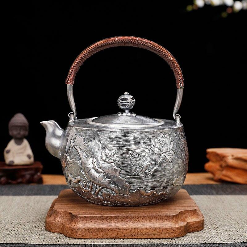 الفضة وعاء غلاية الفضة النقية 999 اليد منحوتة لوتس حفل الشاي المنزلية الفضة مجموعة براريد للشاي
