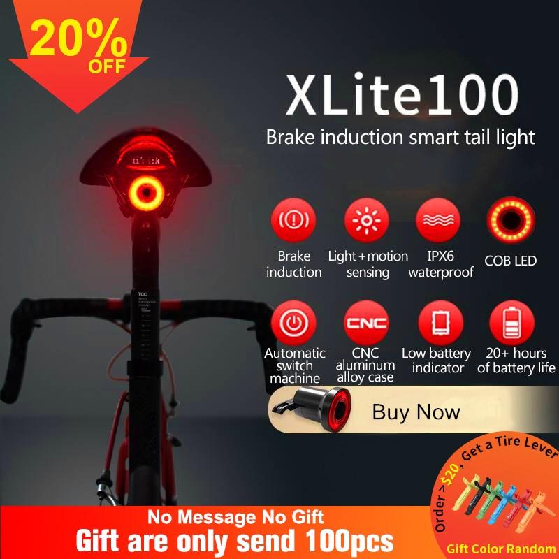 Linterna de bicicleta xlite100, luz trasera de bicicleta, sensor de arranque/parada de freno automático IPX6, luz trasera LED de carga impermeable para bicicleta