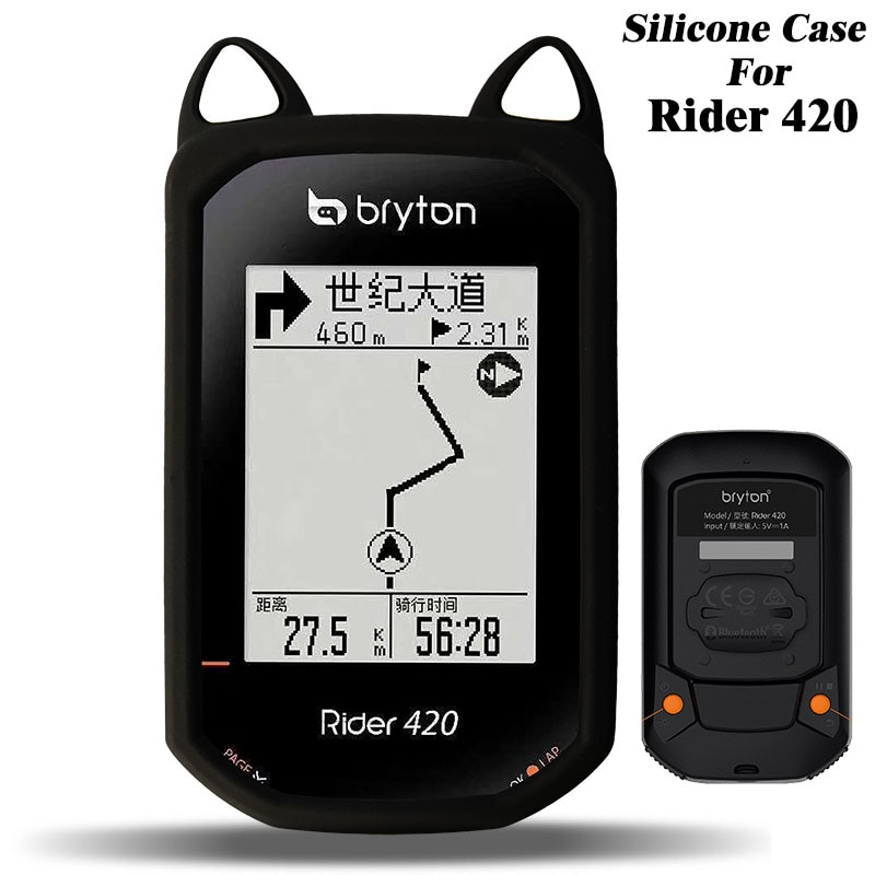 Qualidade gato orelha da bicicleta silicone caso & protetor de tela capa para rryton rider 420 gps computador bryton r420 caso tela filme