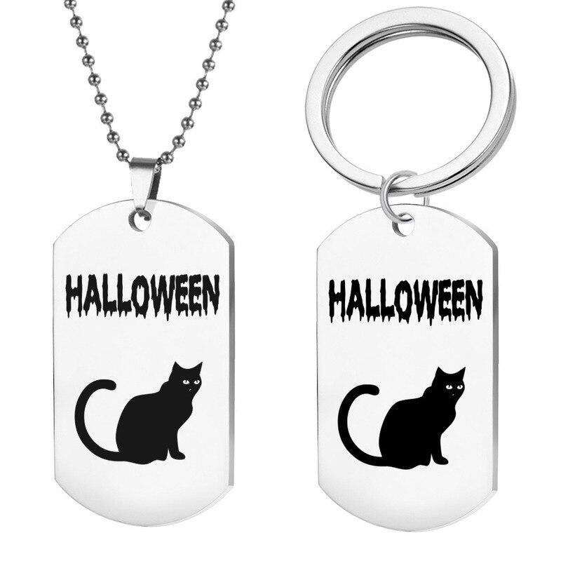 Llaveros de Halloween para hombre y gato negro, Llaveros para mujer, Llaveros con colgante para mujer, Llaveros Unisex, Llaveros de joyería