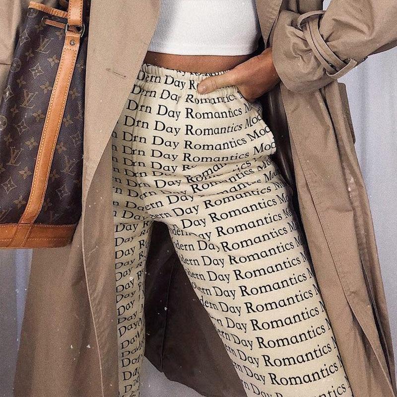 2020 Summer Women Pants Series Autumn Streetwear High Waist Joggers Letter Printed Hip Hop Dance Trousers Pants Sweatpants
