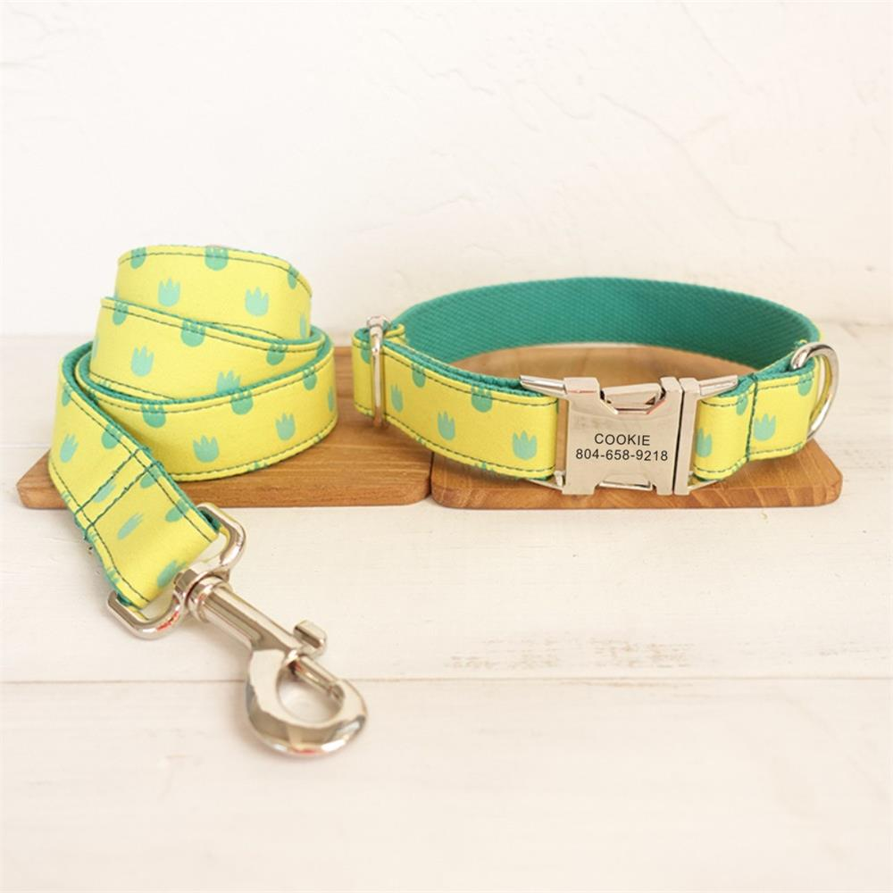 Free Engraving Pet Collar Customized Nameplate ID Tag Adjustable Small Yellow Gragon Paw Cat Personalized Dog Collars Leash Set