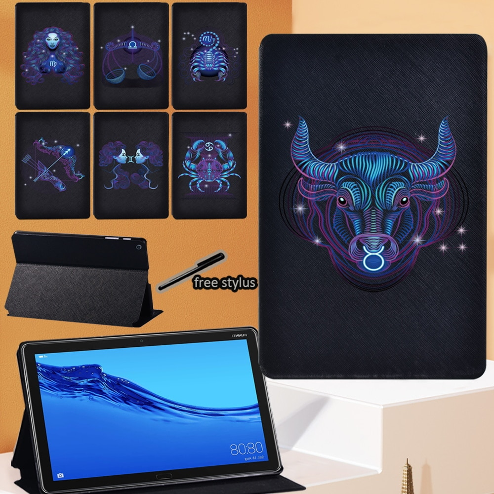 Zodiac Series Tablet Case for Huawei MediaPad M5 10.8 Inch/M5 Lite 10.1 Inch Drop Resistance Leather Stand Cover+Stylus