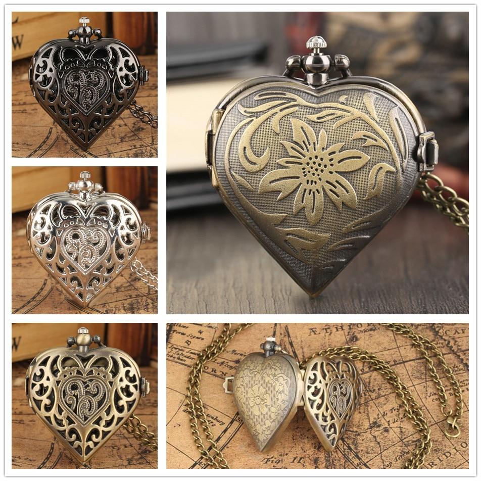 Kalp şekilli kolye kolye cep saati kuvars arap rakamları ekran kadın cep saati hediyeleri Retro Fob