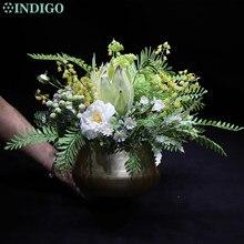 INDIGO -  Centerpiece Green Protea Cynaroides Bonsai With Pot Tea Rose Artificial Flower Table Flower Arrangment Party Event