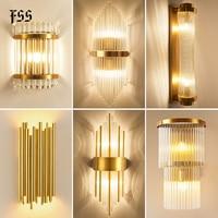 Современные золотые хрустальные Настенные светильники прикроватная тумбочка для спальни гостиной украшение дома светодиодный настенный ...