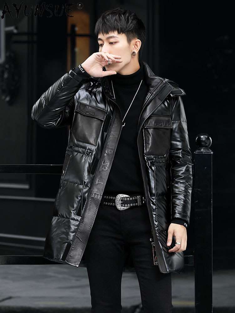 Genuine 2021 Cowhide Leather Jacket Men Down Jackets Thick Windbreaker Winter Coat Motorcycle Parka Hommes Veste LXR1017