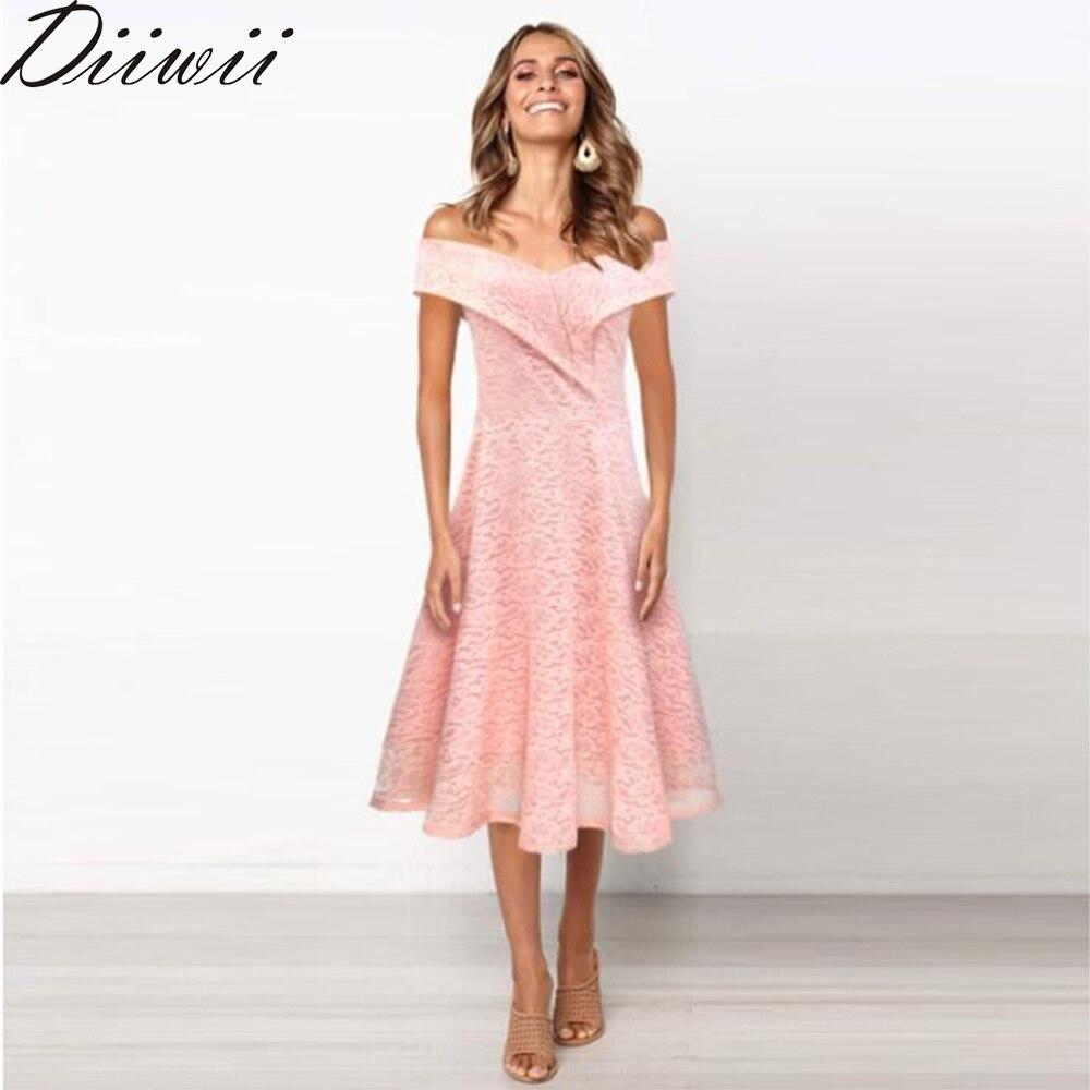DiiWii Woman Ladies Multi Color Dress Elegant Simple One Word Shoulder Lace Bridesmaid Dress