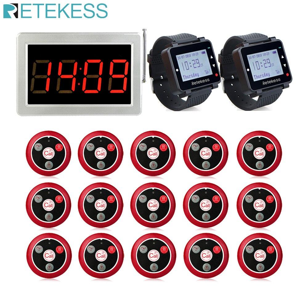 Retekess Restaurant Pager 15Pcs T117 Rufen Tasten Sender + 2Pcs Beobachten Empfänger + Empfänger Host Wireless Aufruf System für Cafe