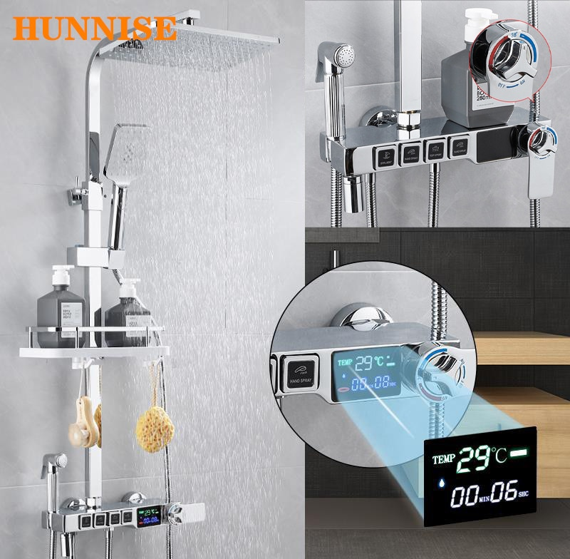 Bathroom Shower Faucet Polished Chrome Bathroom Shower Mixer Set Luxury Digital Bath Rainfall Shower System Thermostatic Faucet bakala bathroom led shower set 2 functions led digital display shower mixer concealed shower faucet 8 inch rainfall shower head