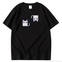 fashion style t shirt crewneck cute cartoon cat meow letter simple print t shirt short sleeve top oversized womens t shirts