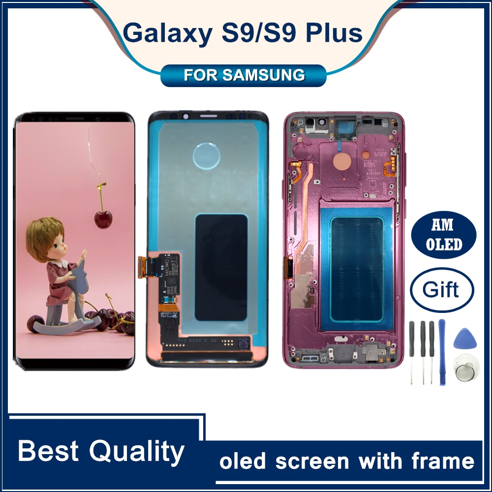 100% Original Display With Frame for SAMSUNG Galaxy S9 LCD Display Touch Screen Digitizer S9 Plus G960 G965 Repair Parts