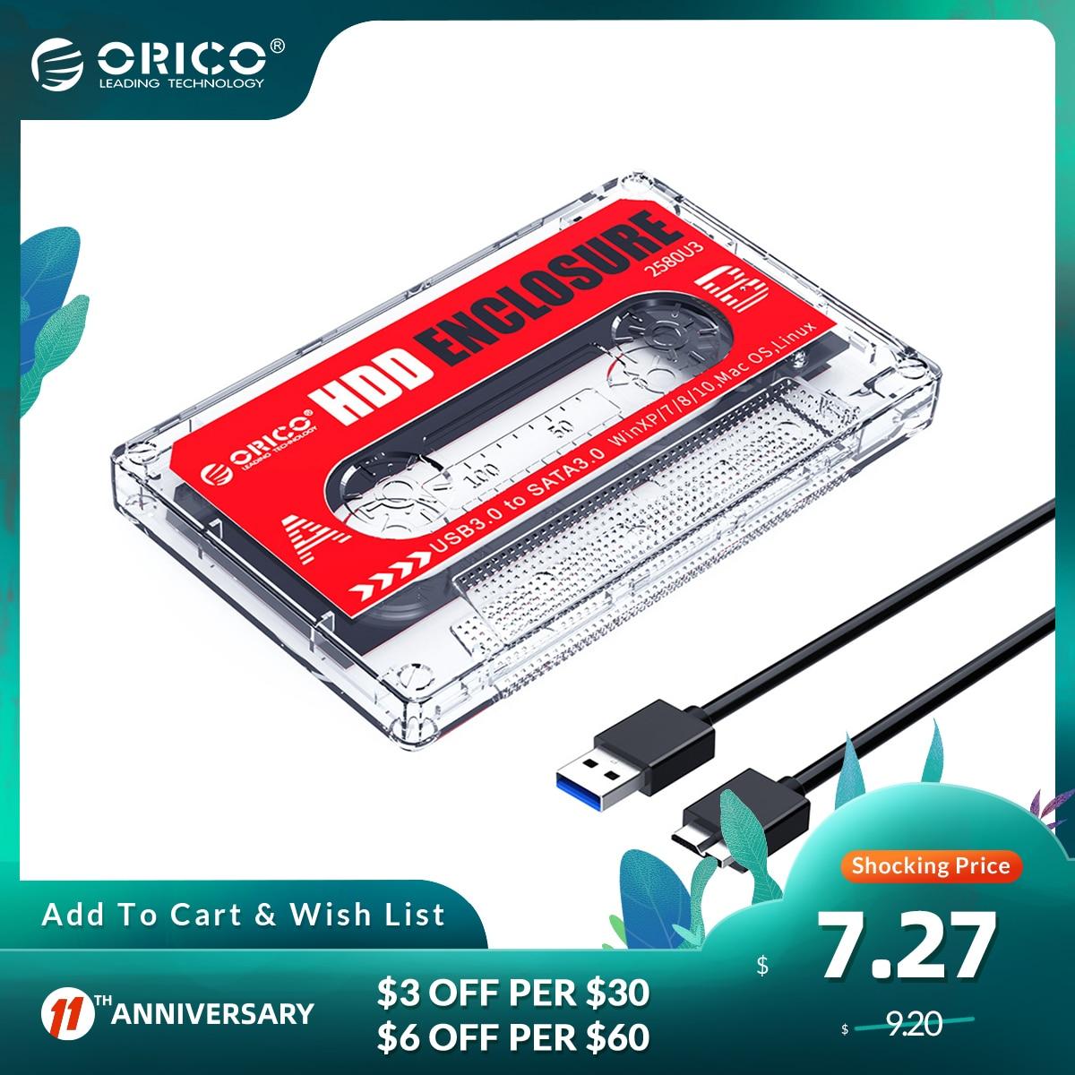 ORICO USB3.0 to SATA3.0 2.5 inch HDD Enclosure SSD Hard Drive Case Transparent External Case DIY Stickers Cassette Tape Design