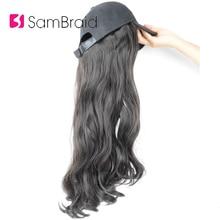 SAMBRAID 18 pulgadas extensiones de cabello ondulado con tapa negra peluca todo-en-uno mujer gorra de béisbol Peluca de sombrero de pelo sintético