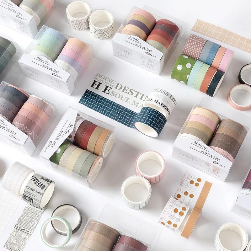 Lote de 10 unidades de Linda serie de sueños, juego de cintas adhesivas, suministros para diario, papel de álbum de recortes, papelería Washitape