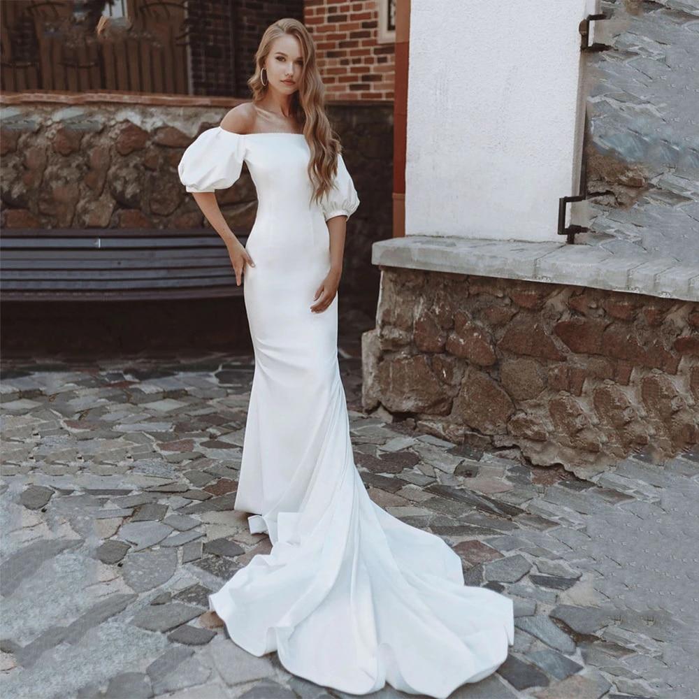 Get Simple Mermaid Wedding Dresses 2021 Elegant Boat Neck Off the Shoulder Puff Sleeve Soft Satin Court Train Bridal Gowns Custom