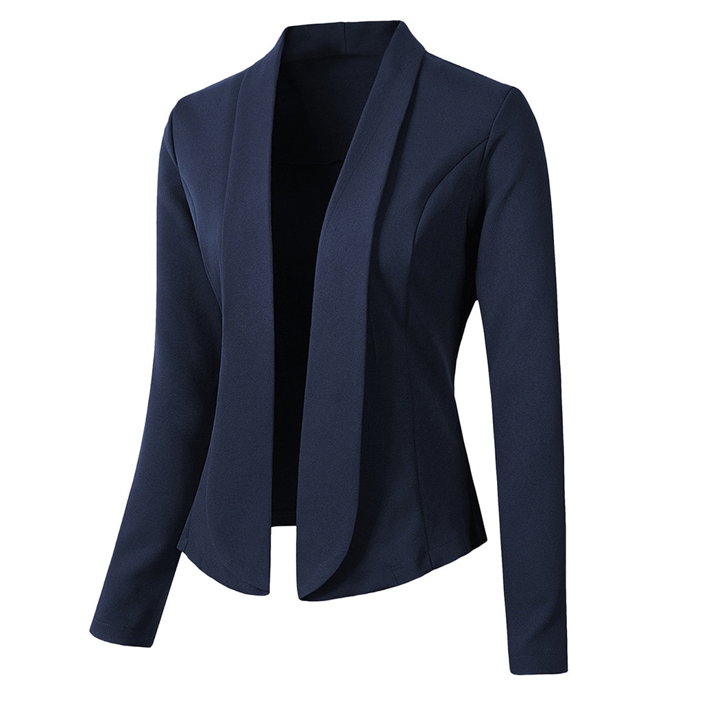 Jaycosin mulheres básico gola entalhada sólido blazer manga longa jaqueta sólida feminino casual senhoras escritório wear outwear casaco cardigan