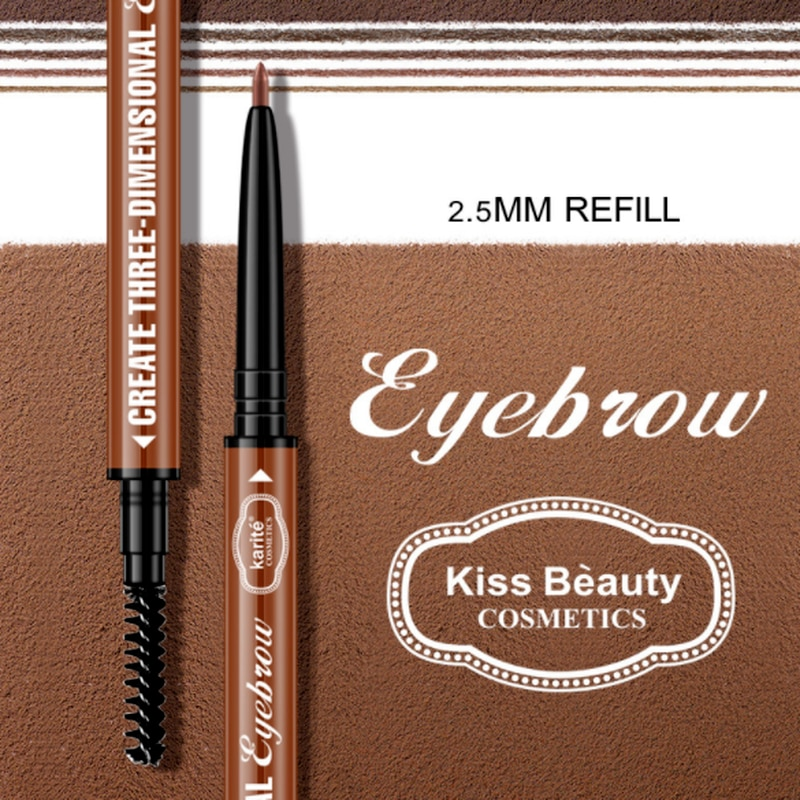 Kiss Beauty Double-ended Waterproof and Sweat-proof Long Lasting Eyebrow Pencil Brow Liner Cosmetics Beauty Makeup Tools 1Pcs