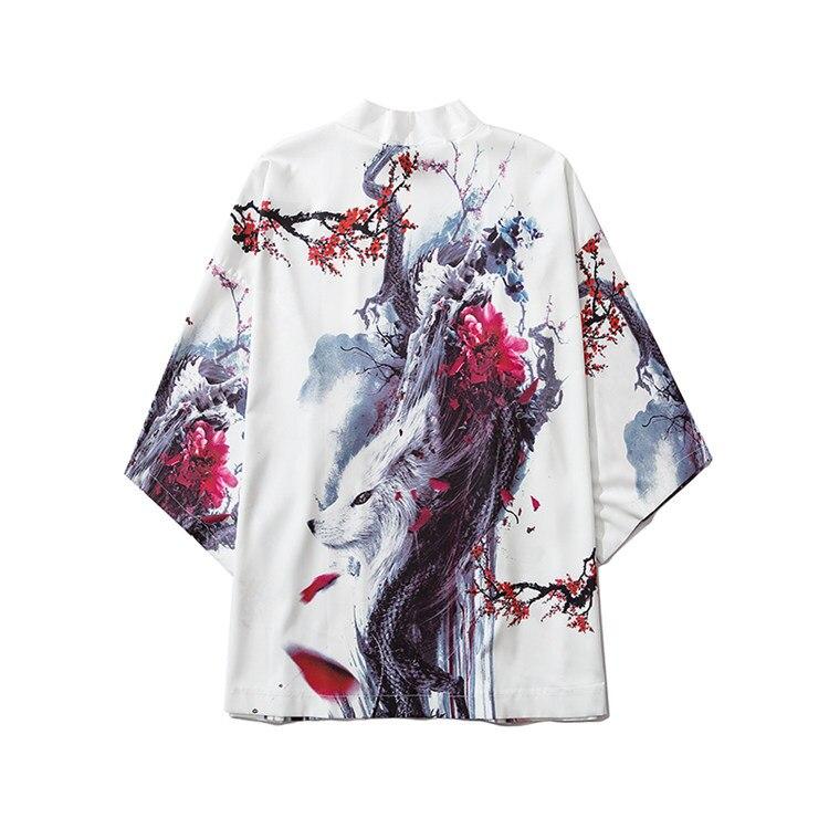 Chinese Character Moda Quimono Obi Yukata Kimono Cardigan Harajuku Roupas Quimono Japonês Mulheres Tops e Blusas para Homens Asiáticos